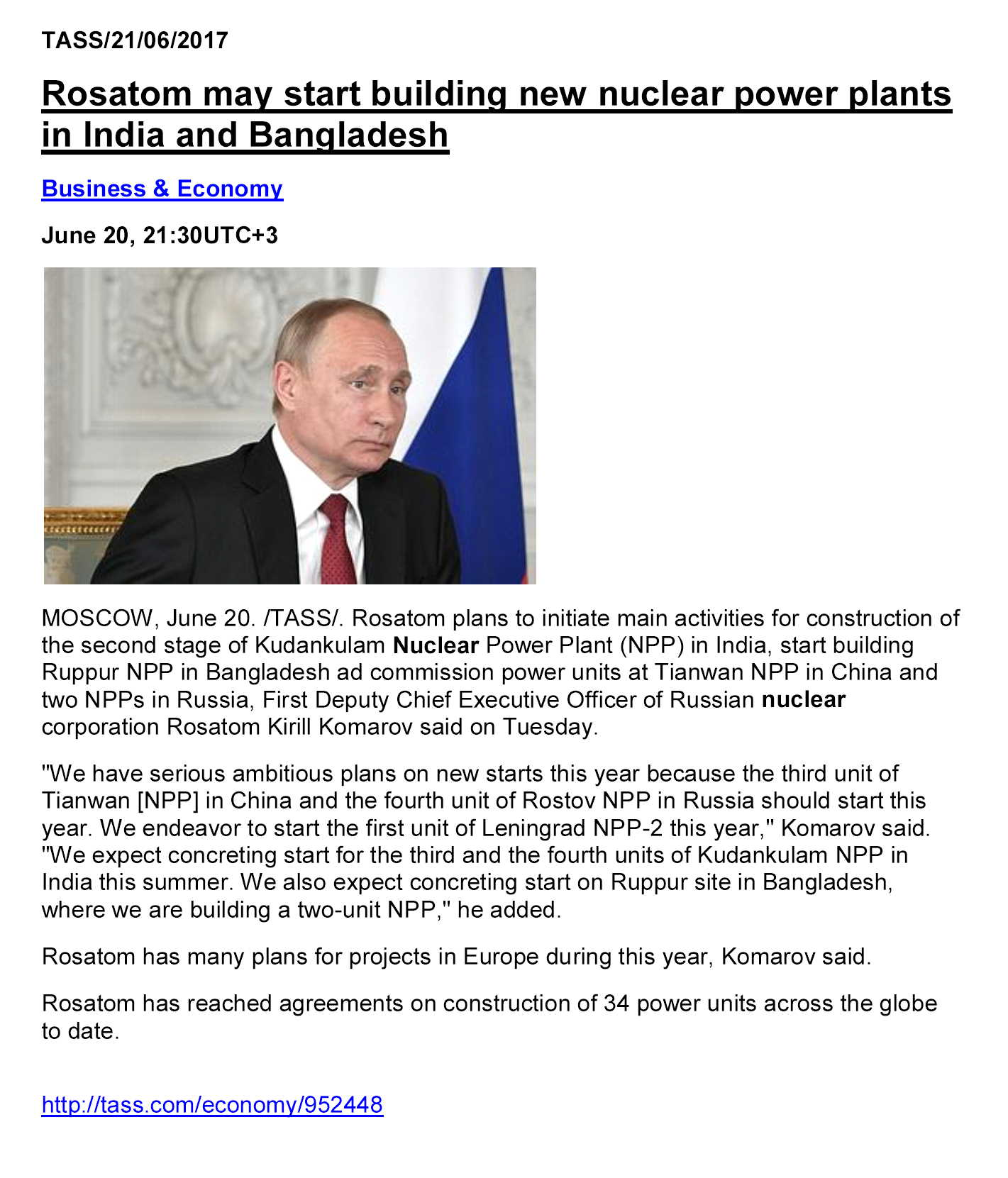 Rosatom may start building new nuclear power plants in India and